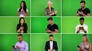 4K compilation (montage) - group of nine people work on mobile phone and smile - green screen