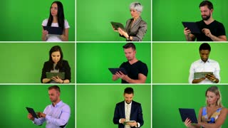 4K compilation (montage) - group of nine people work on tablet - green screen studio