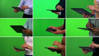 4K compilation (montage) - group of nine people work on tablets - closeup - green screen