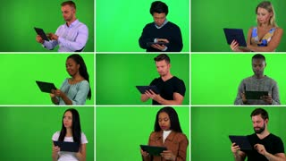 4K compilation (montage) - group of nine people work on tablets - green screen