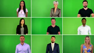 4K compilation (montage) - group of people smile to camera - green screen studio