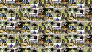 4K compilation (montage) - group of people talk on smartphones in various environments