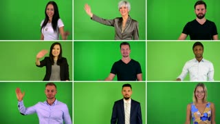4K compilation (montage) - group of people wave with hand - green screen studio