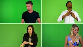 4K compilation (montage) - people adjust clothes - green screen studio
