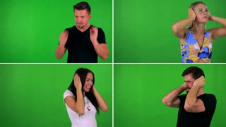 4K compilation (montage) - people are afraid (cover their ears) - green screen studio