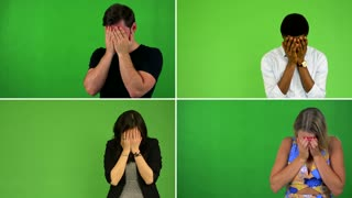 4K compilation (montage) - people crying - green screen