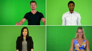 4K compilation (montage) - people invite (gesture with their hands) - green screen studio