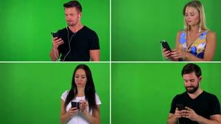 4K compilation (montage) - people listen music with earphone (smartphone) and dance - green screen studio