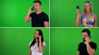 4K compilation (montage) - people phone with smartphone - green screen studio