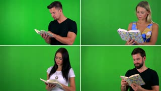 4K compilation (montage) - people read book - green screen studio