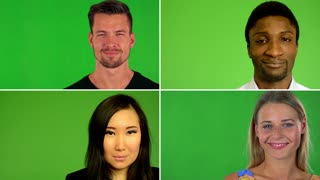 4K compilation (montage) - people smile to camera - closeup - green screen studio - closeup
