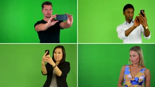 4K compilation (montage) - people take pictures with smartphone - green screen