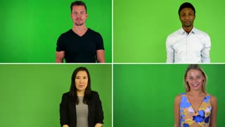 4K compilation (montage) - people talk to camera - green screen studio