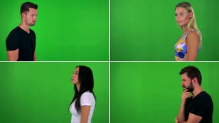 4K compilation (montage) - people walk and think about something - green screen studio