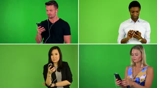 4K compilation (montage) - people work on mobile phone and smile - green screen