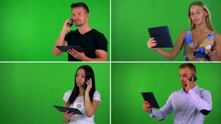 4K compilation (montage) - people work on tablet and phone with smartphone - green screen studio