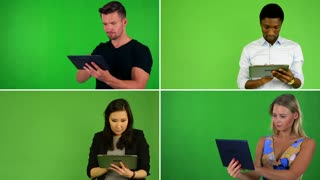 4K compilation (montage) - people work on tablet - green screen studio