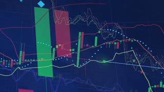 Closeup on a stock market chart