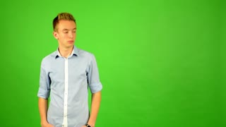 man - green screen - portrait - man is amazed (surprised)