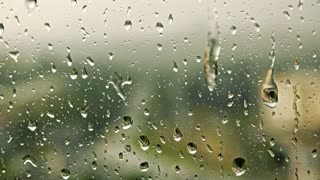 rain - water drops on the window (glass)