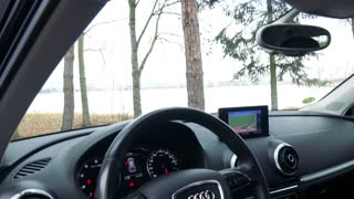 The modern interior of a luxurious car - closeup