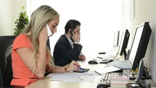 woman and man phone and work on desktop computer in the office - support