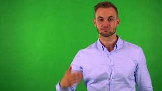young handsome business man handshake - green screen - studio