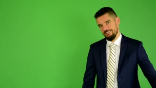 business man welcomes - green screen - studio