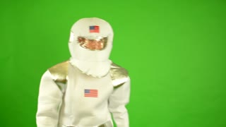astronaut takes off helmet and breathes - green screen