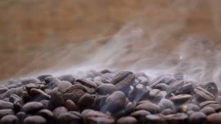 Coffee bean with smoke