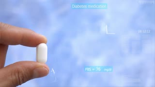 drug in hand : diabetes medication hologram drug chemical structure in futuristic technology for patient