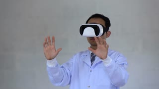 futuristic medical technology. Doctor using goggle reality with AR technology for chemical formula analysis.