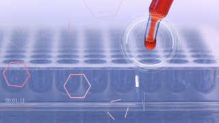 scientist dropping chemical solution for analyzing :  hologram chemical structure in futuristic technology for testing in laboratory