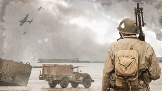 American G.I. stands on the beach at D-Day (animated photos)