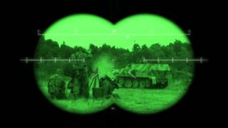 Battlefield Binoculars: World War 2 battlefield action viewed through night vision binoculars