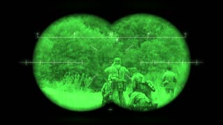 Battlefield Binoculars: World War 2 German battlefield re-enactment viewed through night vision binoculars