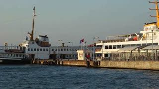 BIG ISLAND, TURKEY - SEPTEMBER, 2009: A passenger ferry docks at Büyük Ada (Big Island)