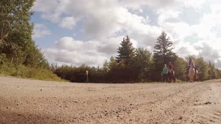 CAPE BRETON, CANADA - SEP 16, 2015: Horse riders on a quiet country road