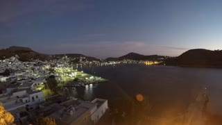 Dawn breaks over the town of Skala on the Greek island of Patmos in this timelapse