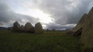 ENGLAND, UK - OCTOBER, 2015: Panning time-lapse footage of Castlerigg stone circle in the English Lake District, with tourists playing and posing amongst the stones