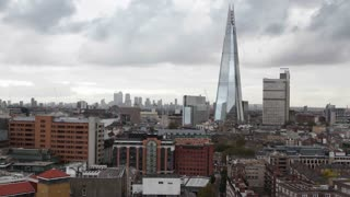 High angle timelapse view of London skyline including the Shard