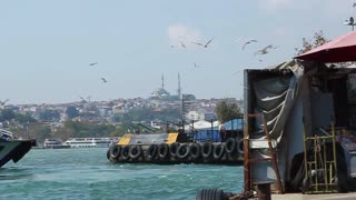 ISTANBUL, TURKEY - SEPTEMBER, 2009: A passenger boat docks at the Golden Horn, with seagulls flying