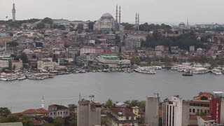 ISTANBUL, TURKEY - SEPTEMBER, 2009: The Bosphorus river and Golden Horn, with mosques and boats visible