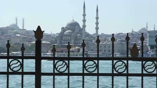 ISTANBUL, TURKEY - SEPTEMBER, 2009: The Golden Horn with boats and mosques visible