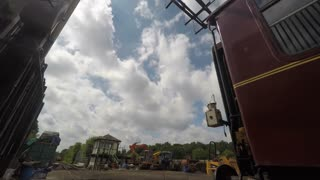 KENT, UK - JUNE 2015 Time lapse sequence of diesel train connecting with carriages at Spa Valley Railway