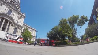 LONDON - JULY 2015 Panning time-lapse clip of St Paul's Cathedral in London, showing tourists and buses