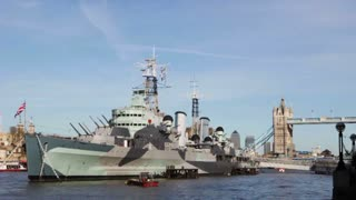 LONDON, UK - APRIL, 2011: HMS Belfast and Tower bridge on the Thames