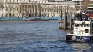 LONDON, UK - APRIL, 2011: Police boat floats on Thames