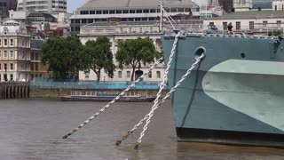 LONDON, UK - AUGUST 8, 2013: Front of HMS Belfast with anchor chains
