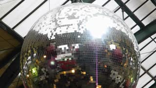 LONDON, UK - DECEMBER 19, 2012: Close-up of rotating Christmas glitterball in Covent Garden Market